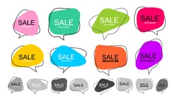 Big Set of vector flat colorful, black and white speech bubble shaped banners, price tags, stickers, posters, badges. Isolated on white background