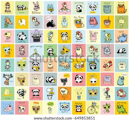 big set of vector kid's cards