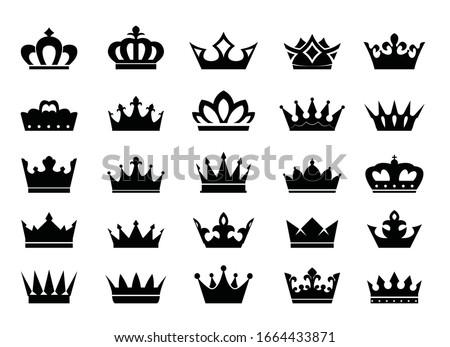 Big Set of vector king crowns icon on white background. Vector Illustration. Emblem and Royal symbols.