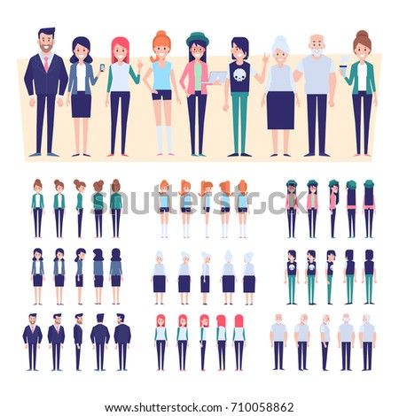 Big set of Vector people. Front, side, back view animated characters.