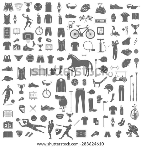 big set of vector silhouettes