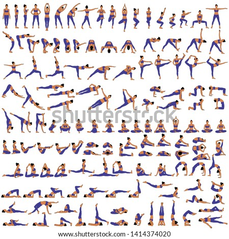 Big set of vector silhouettes of woman doing yoga exercises. Colored icons of a girl in many different yoga poses isolated on white background. Yoga complex. Fitness workout.