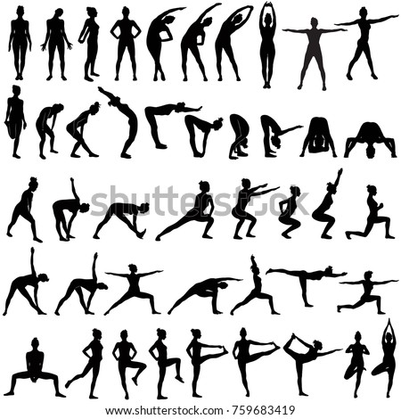 Big set of vector sillhouettes of slim woman doing fitness work out and yoga stretching in different standing poses. Fitness and yoga girl icons isolated on white background.