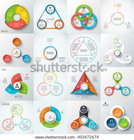 Big set of vector triangles, circles and other elements for infographic. Template for cycle diagram, graph. Business concept with 3 options, parts, steps.