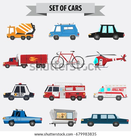 big set of vehicles vector