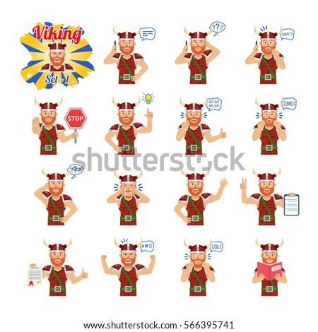 big set of viking emoticons
