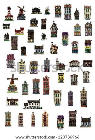 big set of vintage facades - cartoon