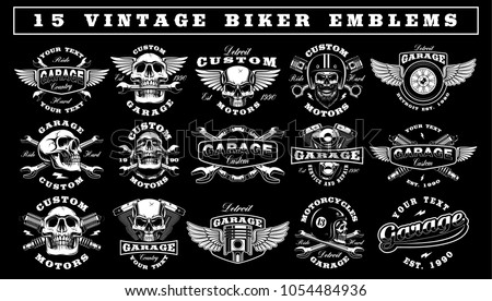 Big set of vintage motorcycle emblems on dark background. Perfect for the shirt designs, biker clothes, and many other. Text is on the separate group.