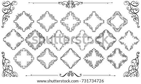 Free borders and vector flourishes download vetores e grficos big set of vintage styled calligraphic frames and flourishes complex and exquisite decoration for invitation stopboris Image collections