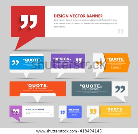 Big set of web banners with foot and bubble for a quote, r with leg for quotes, different colors and shapes. Template for the Internet and advertising. Vector illustration