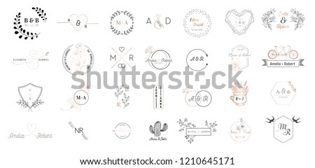 Big set of Wedding monogram logos collection, hand drawn modern minimalistic and floral templates for Invitation cards, Save the Date, elegant identity for restaurant, boutique, cafe in vector