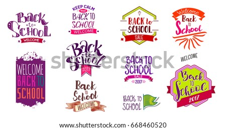 Big set of Welcome back to school labels. School Background. Sale tag. Vector illustration. Hand drawn lettering badges. Typography emblem