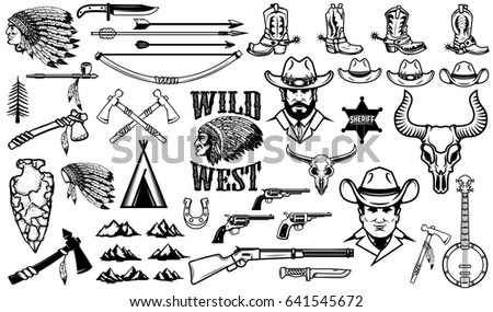 big set of wild west icons...