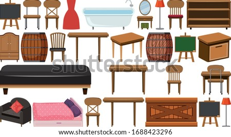 Big set of wooden furnitures on white background illustration stock photo