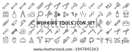 Big Set of Working Tools Icon (Thin Line Version) Photo stock ©