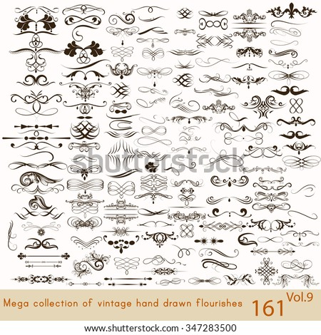 Big set or collection of calligraphic flourishes a lot of decorative elements  for design