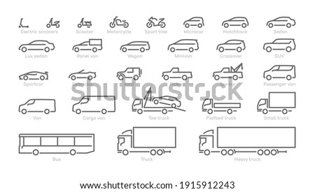 Big set outline car icons, different types of transportation