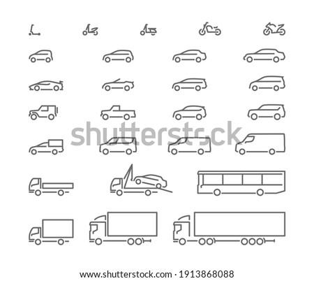 Big set outline icons, urban transport