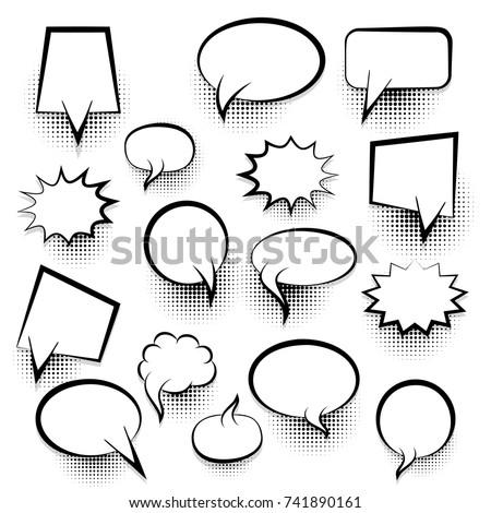 Big set picture blank template pop art style comic text speech bubble halftone dot background. Comics book dialog empty cloud, space cartoon box pop-art. Creative idea conversation sketch explosion