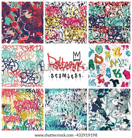 big set  seamless patterns