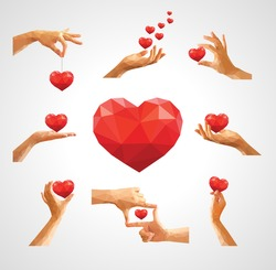 big set stock polygon for valentine's day hands holding heart