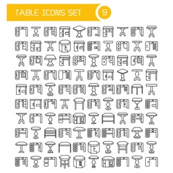 big set table and desk icons, furniture decoration set