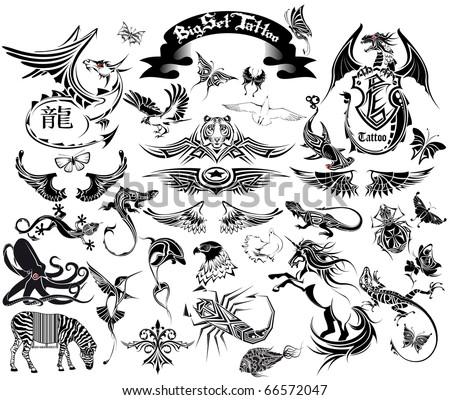 stock vector : big set tattoo