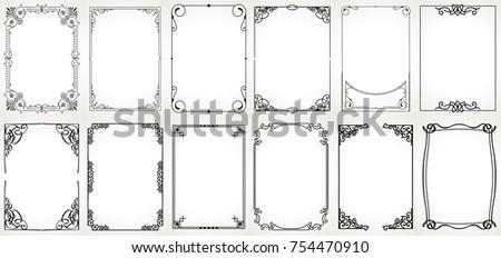 Big set Template of Decorative vintage frames,borders rectangular shape. Old backgrounds