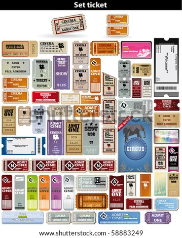 big set tickets in different styles Vector.