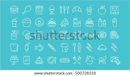 big set vector line icons meal