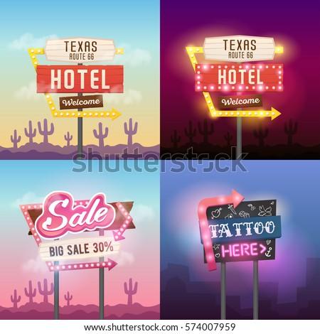 Big Set. Vector Retro sign/pointer, vintage billboard, light banner, bright signboard