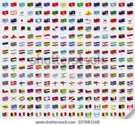 Big set wavy flags. Vector illustration