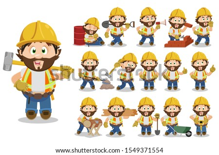 Big set with bearded builder, foreman in hardhat in different situations. Repairer, carpenter in industrial vest digging, carrying wood boards, working, showing hand gestures. Cartoon vector on white.