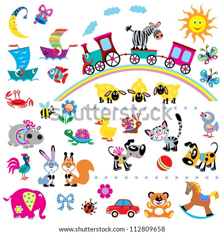 big set with cartoon toys vector images for babies and little kids simple pictures isolated on white background children illustration