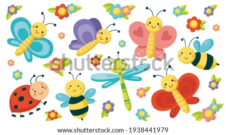big set with cute insects