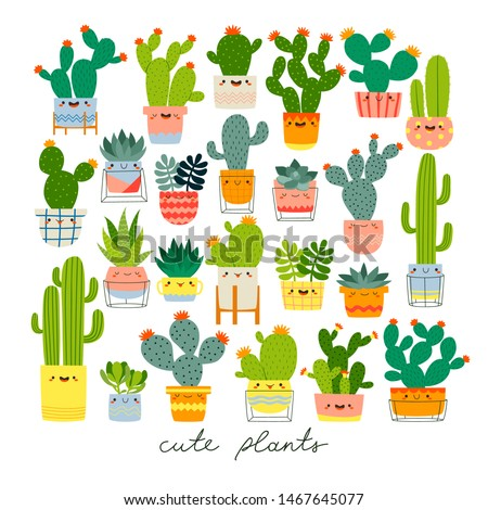 big set with different cute cacti and succulents with funny faces in pots on white background. Vector illustration set with different cactuses and succulents. Cacti stickers set for children