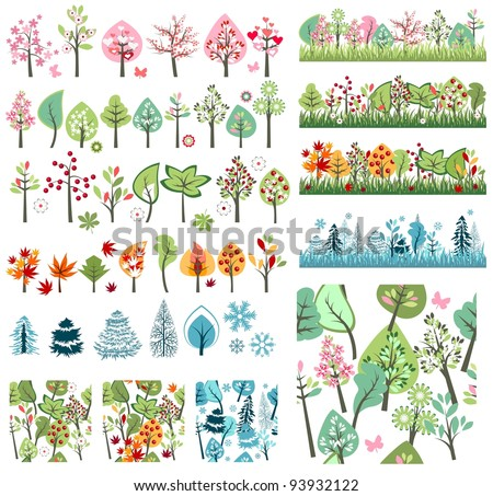 Big Set with Different Stylized Trees - stock vector