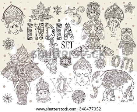 big set with elements of indian