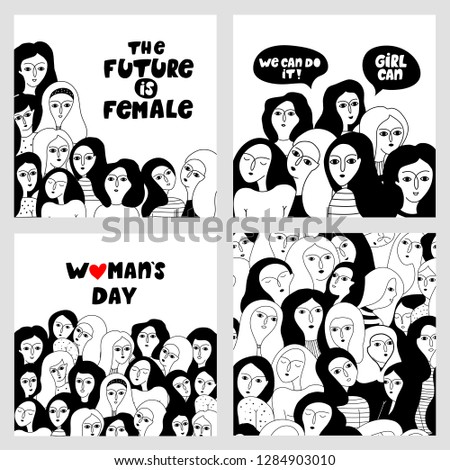 Big set with female faces card and motivating lettering compositions - girl power and feminism concept. Happy International Women's Day.
