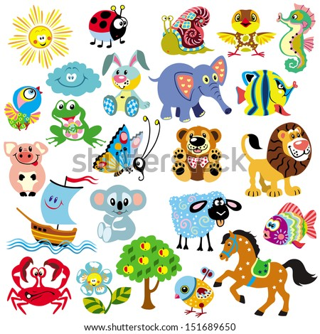 big set with pictures for babies and little kids simple cartoon images isolated on white background children illustration