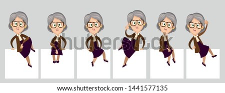 Big set with senior spectacled woman sitting in different poses on white boards, paper sheets and showing hand gesture. Granny with empty banners. Vector cartoon isolated on grey. Place for text.