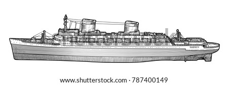 big ship illustration  drawing  ...