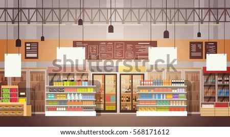 Big Shop Super Market Shopping Mall Interior Flat Vector Illustration