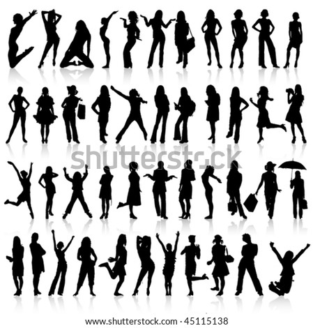 Big silhouette collection of women. Vector.