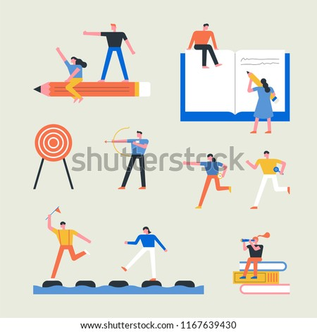 Big size education object and small people concept flat design style vector graphic illustration set