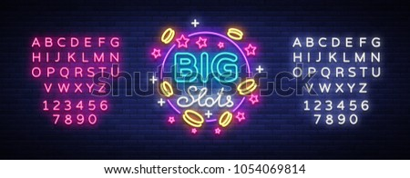 Big slots neon sign. Design template in neon style. Slot Machines Light Logo Symbol, Winning Jackpot, Luminous Web Banner, Night Casino Advertising. Vector illustration. Editing text neon sign