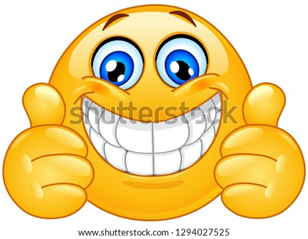 big smile emoticon with thumbs