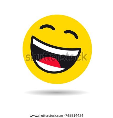 Big smiling emoticon symbol. Happy yellow smiley in a flat design on white background. Vector emoticon joy icon