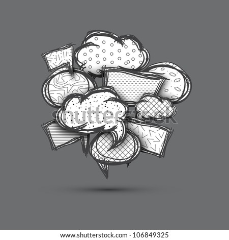 Big speech bubble made from small bubbles. Hand drawn. Eps10 - stock vector