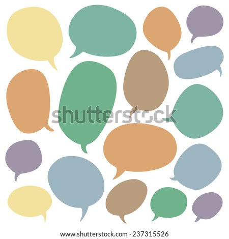 Big speech bubble set. Colorful elements on white background.